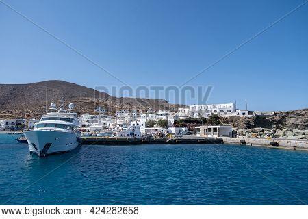 Yacht Moored At Karavostasi Folegandros Island Port. Cyclades, Greece.