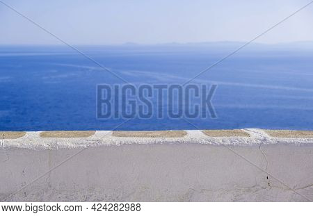 Spectacular View To Aegean Sea, Cyclades Greece. Folegandros Island Outlook Balcony
