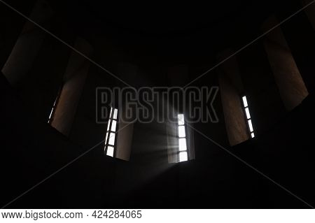 Abstract Dark Round Church Interior With Glowing Windows, Religious Background