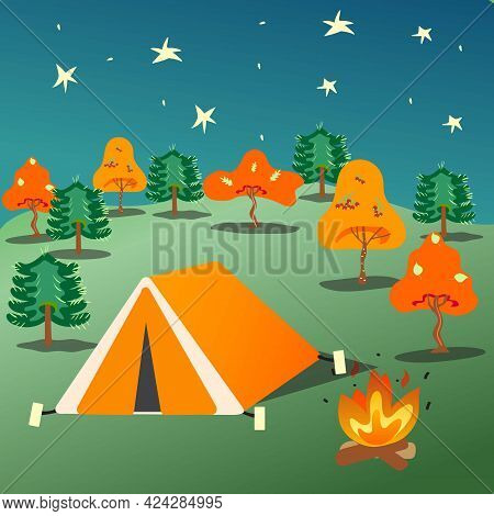 Camping At Night. Tent Staying At Night In The Forest. Adventure At Night. Vector Illustration.