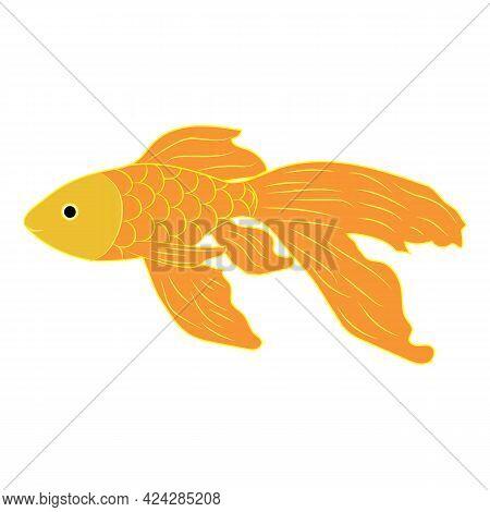 Handmade Goldfish In Flet Style. Vector Illustration.