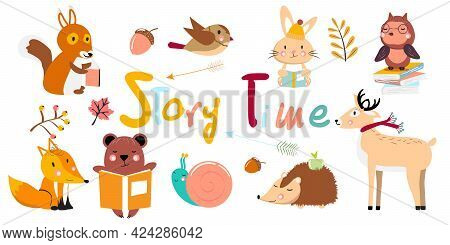 Animals Reading. Story Time. Vector Collection. Autumn Collection.