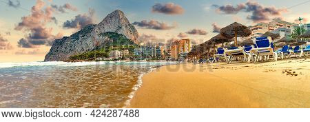 Rock Of Penon By Ifach. Mediterranean Coast Landscape In The City Of Calpe. Coastal City Located In