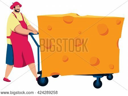 Cartoon Illustration Of Cheesemonger Bringing A Giant Piece Of Cheese.
