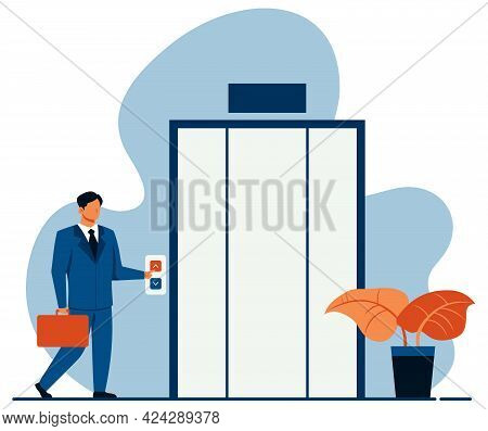 Flat Design Concept Illustration With Businessman Waiting For The Elevator On His Way Up.