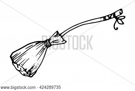 Vector Witch Broom With A Ribbon On The Handle. Hand-drawn Broom With A Bow On The Curved Handle, Do