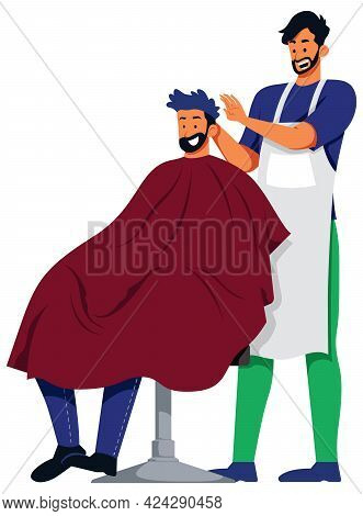 Illustration Of Male Barber Cutting The Hair Of A Young Man.