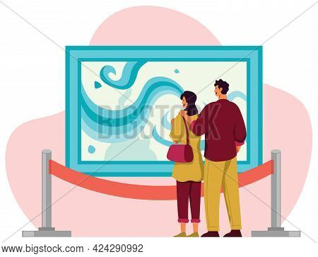 Flat Design Illustration With Couple Looking At Abstract Art Painting In Gallery Or Art Museum.