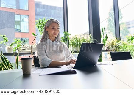Happy Confident Senior Asian Businesswoman Ceo Executive Manager Sitting At Desk Working Typing On L