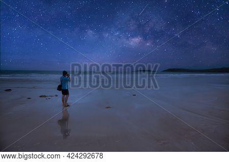 Photographer Taking Thailand Travel Milky Way Photography. Man  Photographer Shooting With Tripod An
