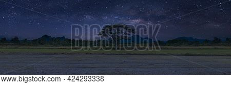 Panorama Photo Milky Way Galaxy At Night. Image Contains Noise And Grain Due To High Iso. Image Also