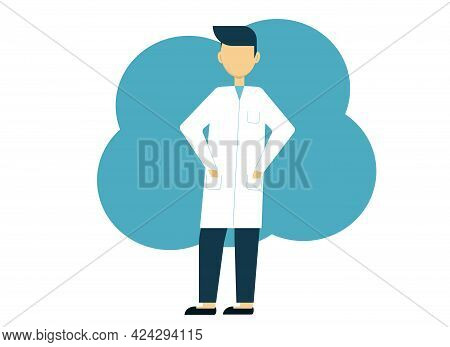 Vector Illustration Of A Brunette Doctor Man In A White Coat And Pink Pants