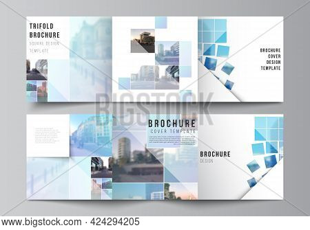 Vector Layout Of Square Format Covers Templates For Trifold Brochure, Flyer, Magazine, Cover Design,