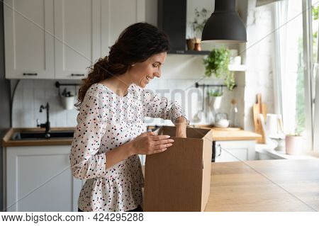Smiling Woman Opening Box In Kitchen, Satisfied Customer Received Parcel