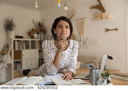 Dreamy Thoughtful Woman Pondering Research Project, Studying At Home