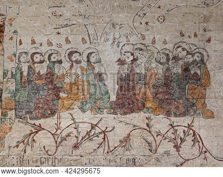On The Day Of Pentecost Tongues Of Fire Come Upon The Apostles, Ancient Fresco Painting In The Cathe