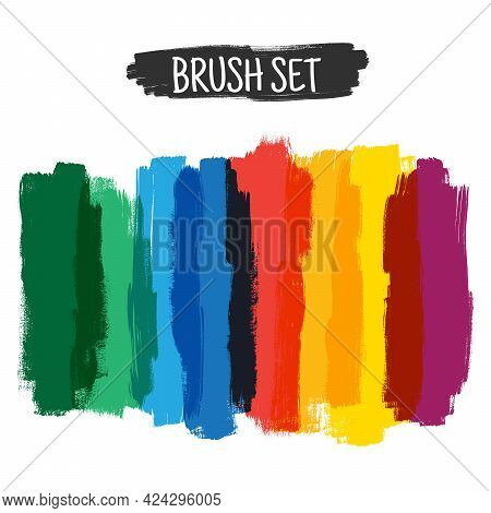Color Highlight Stripes Markers. Stylish Highlight Elements For Design. Vector Highlight Marker Stro