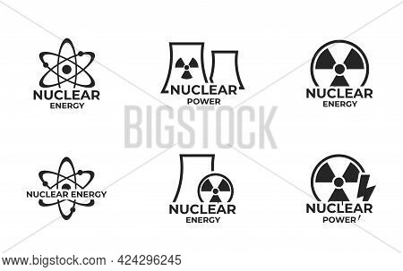 Nuclear Energy Logo Icon Set. Nuclear Power And Electricity Symbol