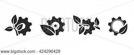 Eco Technology Icon Set. Mechanical Gear And Leaf. Environment, Eco Friendly And Industry Symbol. Is