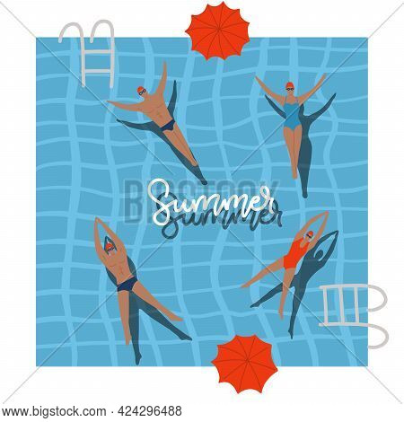 Pool Top View With Umbrellas, Summer Holidays Banner. People Swimming, Relax, Have A Fun Time In Swi