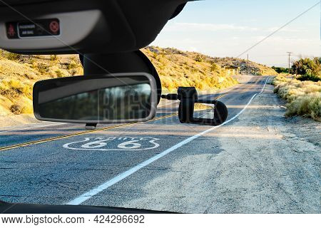 Looking Through A Dashcam Car Camera Installed On A Windshield With View Of The Historic Route 66, W