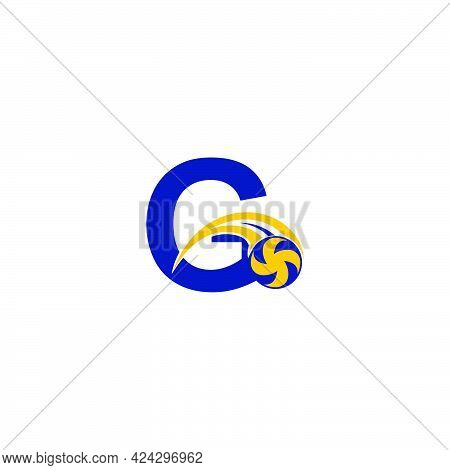 Letter G With Smashing Volley Ball Icon Logo Design Template Illustration