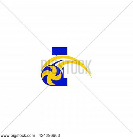Letter I With Smashing Volley Ball Icon Logo Design Template Illustration