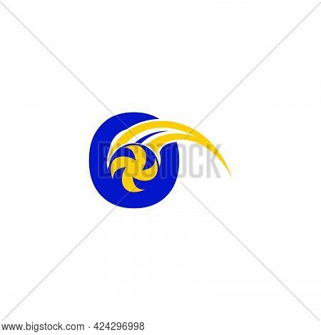 Letter O With Smashing Volley Ball Icon Logo Design Template Illustration