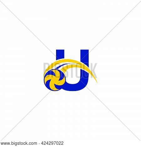 Letter U With Smashing Volley Ball Icon Logo Design Template Illustration