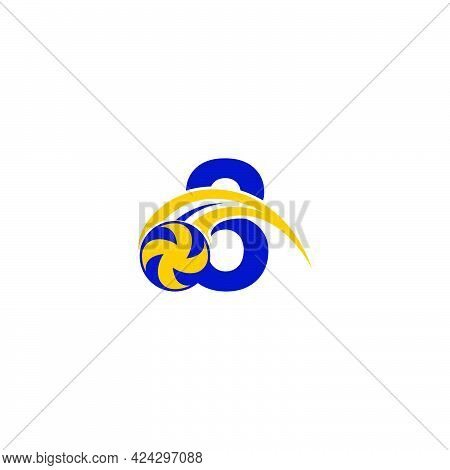 Number 8 With Smashing Volley Ball Icon Logo Design Template Illustration
