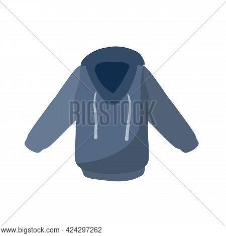 Hoodie With Hood. Blue Warm Clothing. Cartoon Flat Illustration Isolated On White Background. Sweats
