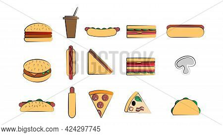 Set Of 15 Icons Of Items Of Delicious Food And Snacks For A Cafe Bar Restaurant On A White Backgroun
