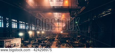 Metallurgical Plant Panorama. Industrial Steel Production. Steel Mill Factory. Heavy Industry Foundr