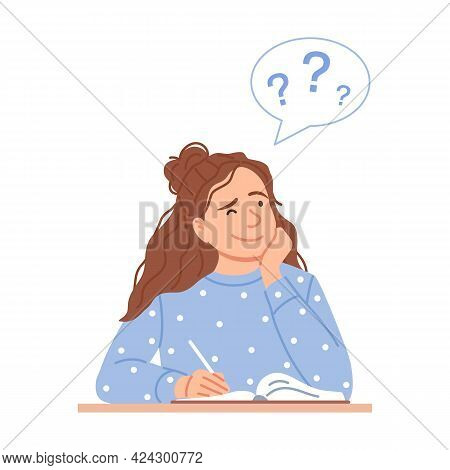 Flat Thinking Woman Isolated On White Background. Cartoon Caucasian Girl Portrait With Question Bubb