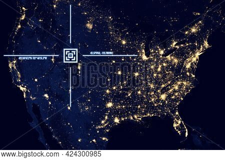 A View From Satellite On The Earth Surface, Geolocation, Gps Coordinates. Elements Of This Image Fur