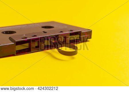 A Close Up Analog Black Audio Tape Record, Retro Stereo Cassette