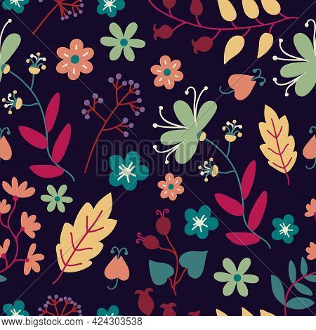 Seamless Pattern With Cute Plants And Flowers.