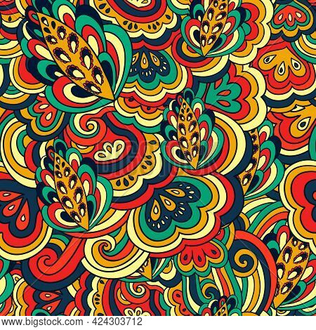 Seamless Psychedelic Pattern With Crazy Colorful Ornamental Elements.