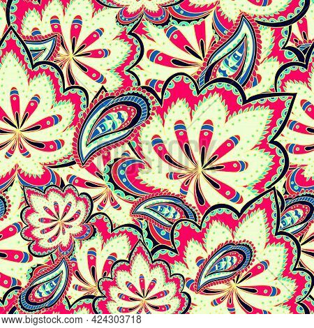 Abstract Colorful Ornamental Pattern With Paisley Floral Elements