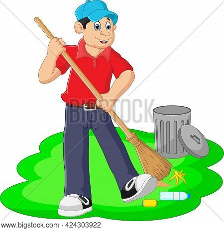 Cartoon Boy Cleaning The Yard On White Background
