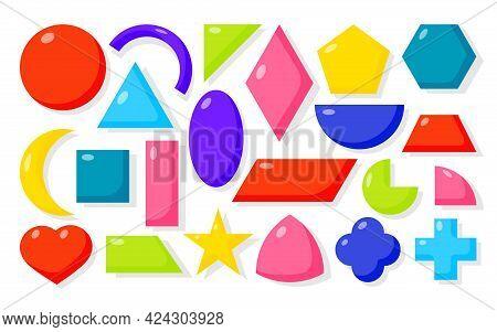 Colorful Flat Cartoon Geometric Forms Icons Set. Basic Math Shapes As Square, Circle, Oval, Triangle