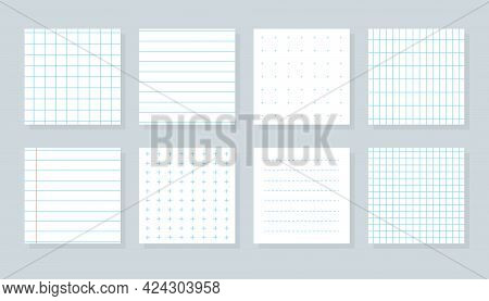 Set Of Flat Different Paper Sheet. Squared Templates Checkered Or Line Sheet. Copybook Cover Sheet W