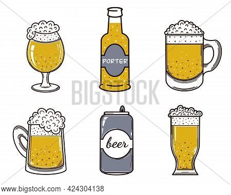 Set Of Beer Vector Icons. Alcohol In A Glass, Mug, Bottle, Aluminum Can, Cup. Isolated Illustration