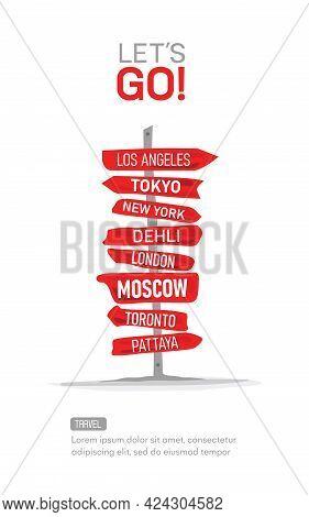 Seyahat Vektör İllüstrasyon - Let`s Travel The World Isolated On White Background -go Travel, Trip,