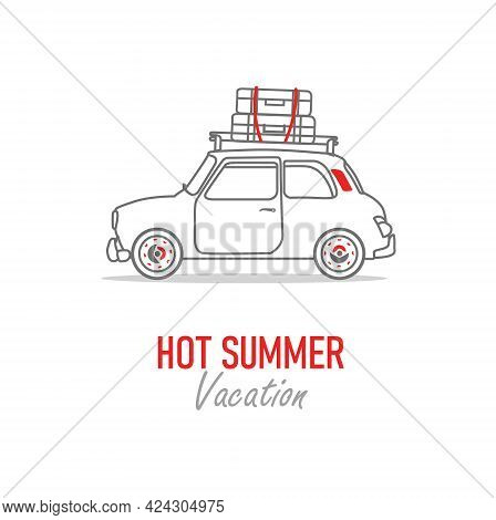 Mini Car Vector Outline Illustration - Let`s Travel The World Isolated On White Background -go Trave