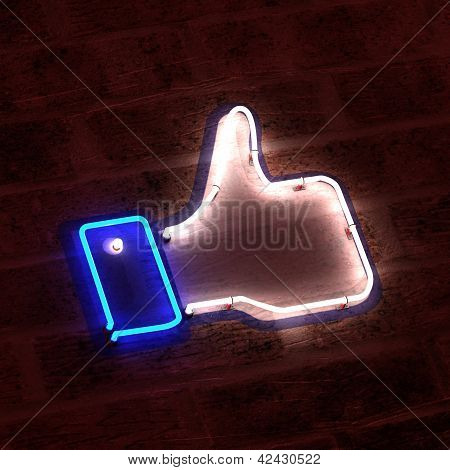 Thumbs Up as Neon Sign