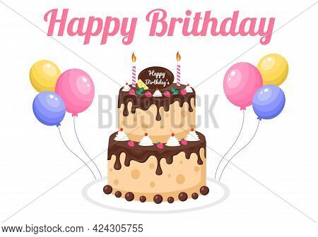 Happy Birthday Party Celebrating Illustration With Balloon, Hats, Confetti, Gift And Cake. For Makin
