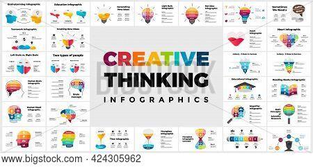 30 Creative Thinking Infographics. Presentation Slide Template. Human Head And Brain. Brainstorming,