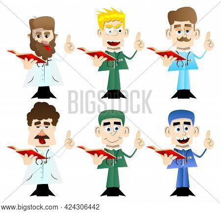 Funny Cartoon Doctor Reading A Red Book And Making A Point. Vector Illustration. Health Care Worker