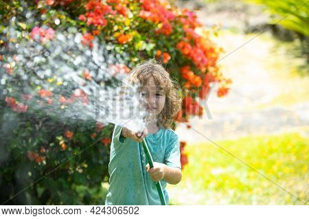 Kid Have Fun. Funny Boy Happy Smiling On Natural Landscape. Little Child Have Fun On Fresh Air. Bein